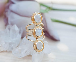 SALE Rainbow Moonstone Ring * Boho * Gemstone *Handmade * Bohemian * Gold Plated *Statement * June Birthstone* Gypsy *Bycila BJR092