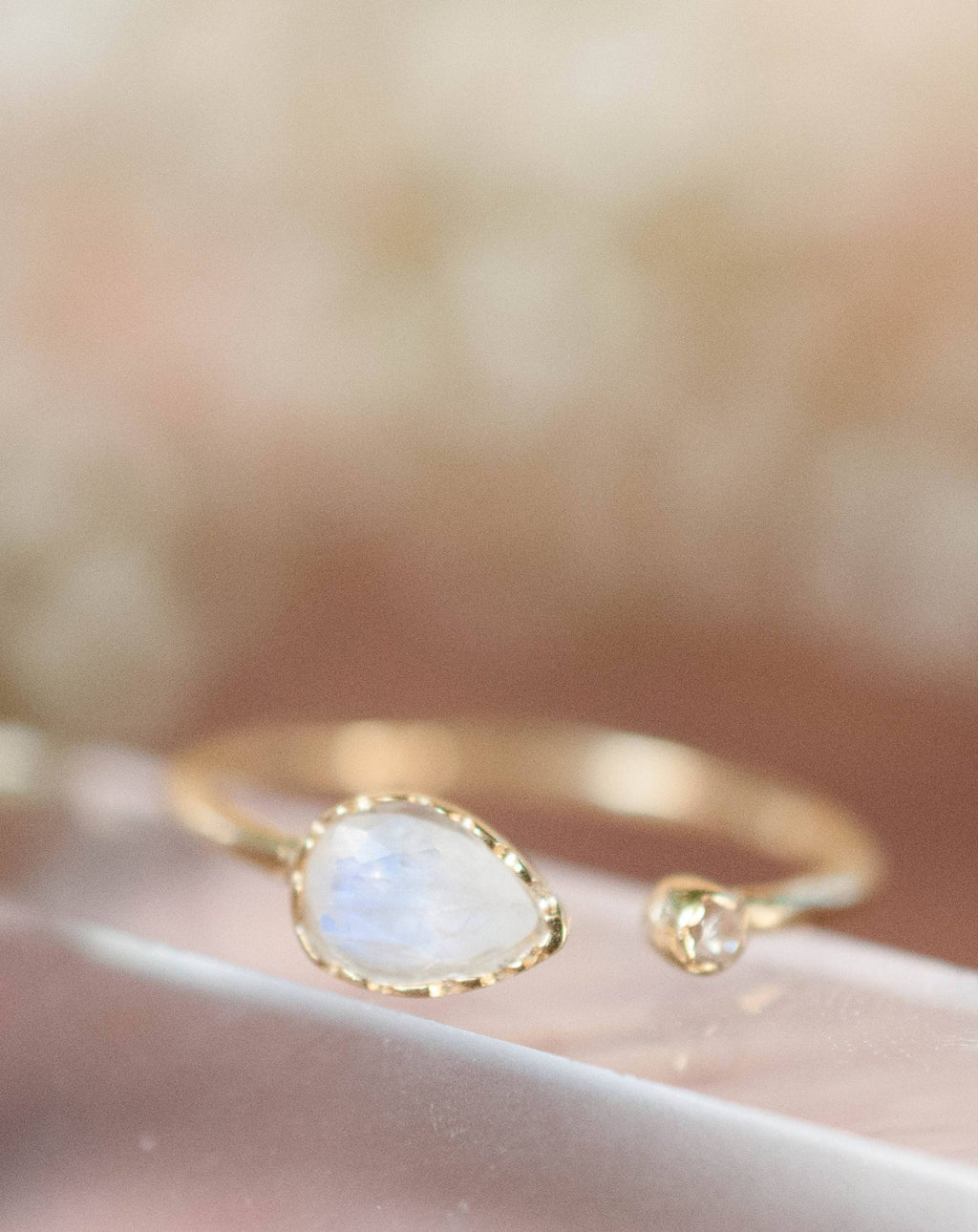 Moonstone Ring * Gold Vermeil or Sterling Silver 925* Adjustable * Statement *Gemstone* White* Handmade*Gift for Her*June Birthstone BJR036