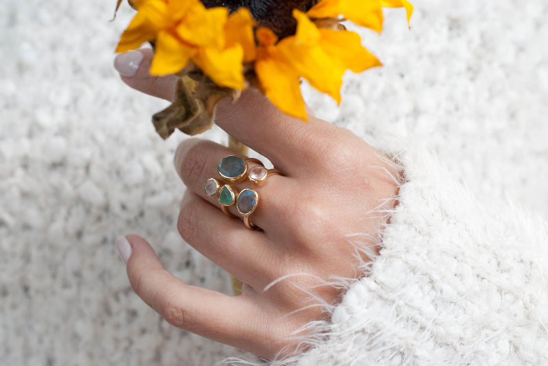 Gold Vermeil Ring * Labradorite * Moonstone * Aqua Chalcedony *Gemstones * Handmade *Statement* Natural * Adjustable* Gift for her BJR139