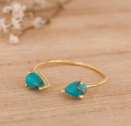 Aline Adjustable Ring - Turquoise (BJR018)