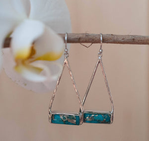 Copper Turquoise Earrings Gold Plated 18k or Silver Plated * Dangle * Gemstone * Natural * Lightweight * Triangulum * Geometric * BJE002B