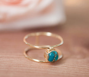 Copper Turquoise Ring * Gold * Statement * Gemstone * Natural * Organic * Ocean * Blue * Mermaid * Handmde * Double Band * Everyday BJR026