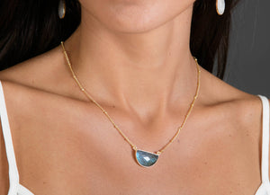Labradorite  Half Moon Necklace * Gold Vermeil or Sterling Silver 925 * Handmade * Layered * Gemstone * Gift for Her * BJN007