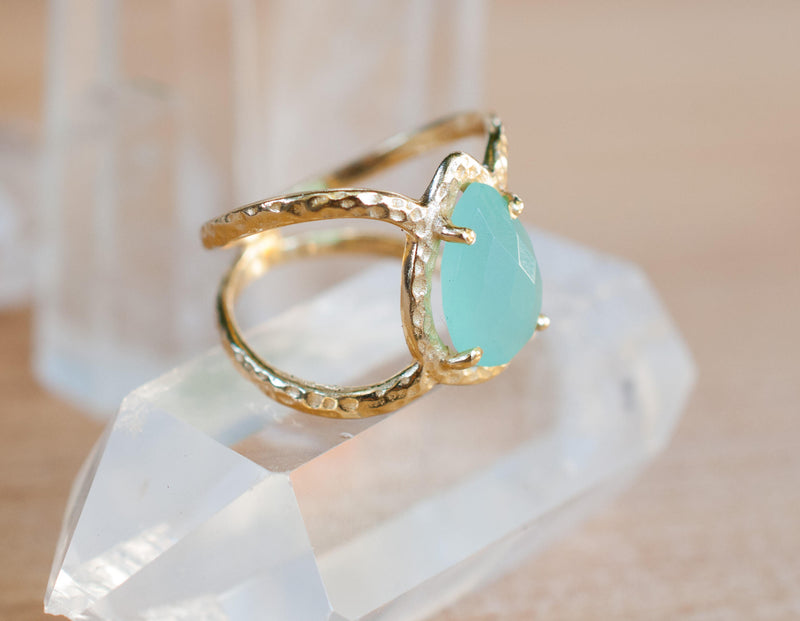 Aqua Chalcedony Ring * Hammered Band * Gold Ring * Statement Ring * Gemstone Ring * Wedding Ring * Organic Ring * Natural* BJR140