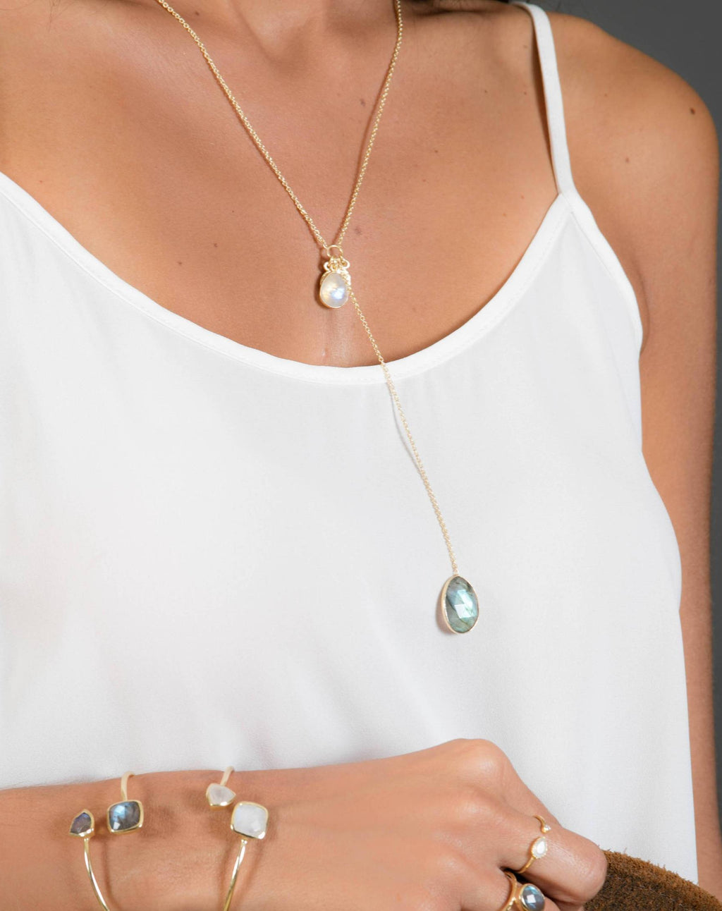 Tammy Y Necklace * Labradorite and Aqua Chalcedony * Gold Plated 18K * BJN023