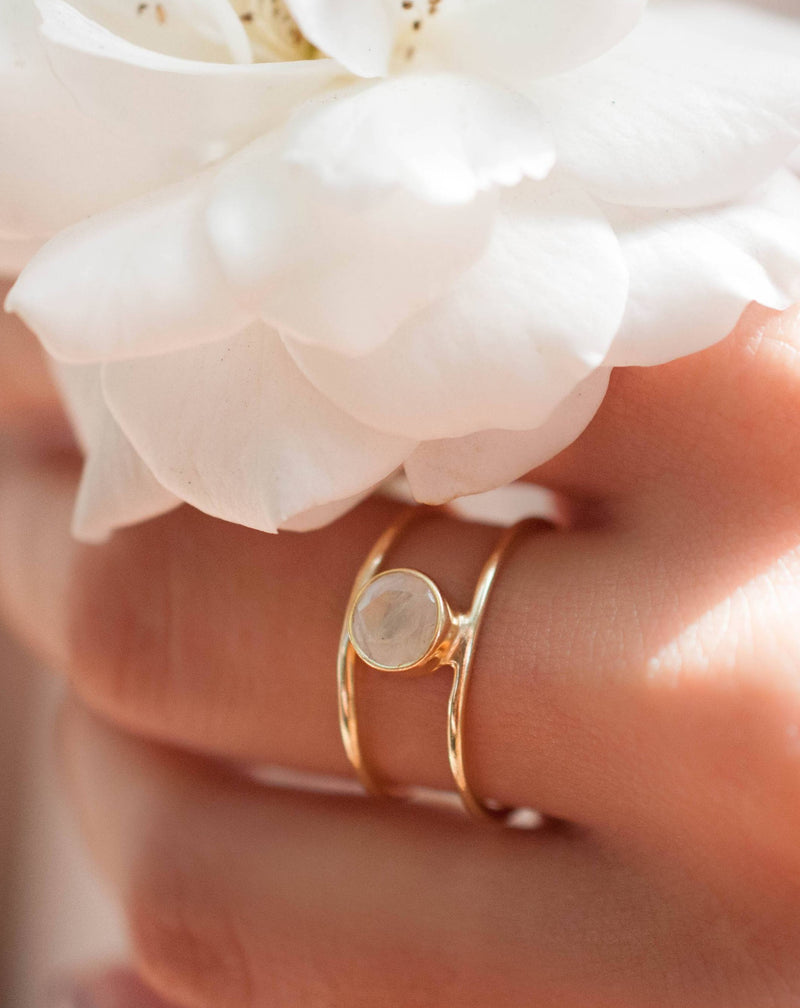 Moonstone Ring * Gold Vermeil Double band *Gold * Statement* Gemstone *Bridesmaid *Natural* Handmade *Gift For Her *BJR028