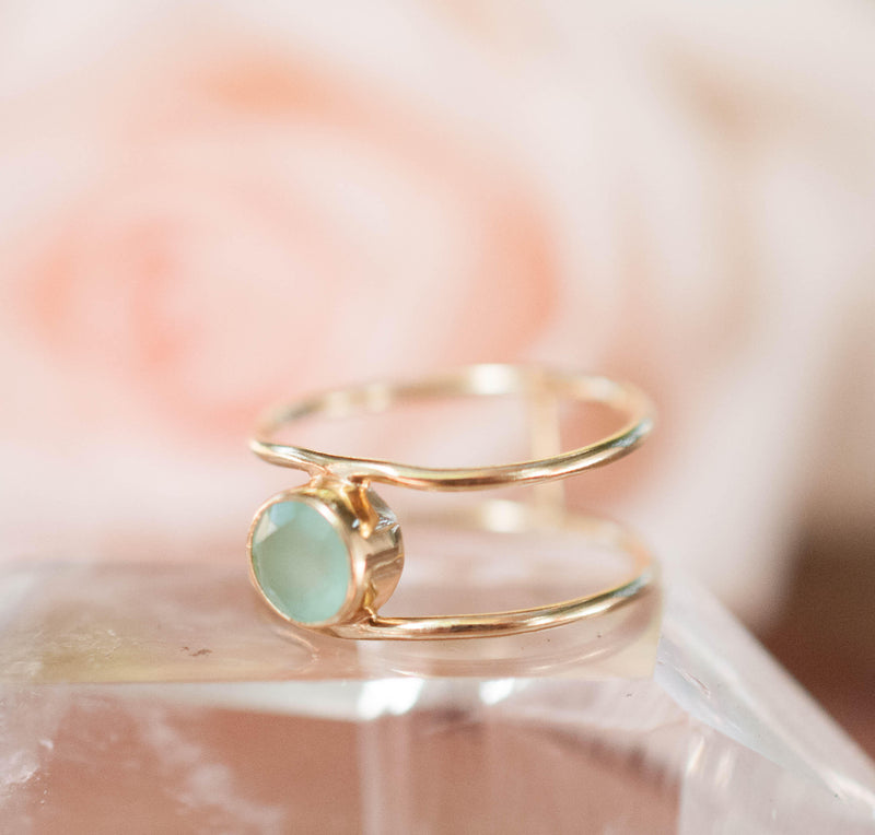 Aqua Chalcedony Ring * Gold * Statement * Gemstone * Teal * Bridal * Wedding * Organic * Natural * Handmade * Green * Blue *Thin Band BJR029