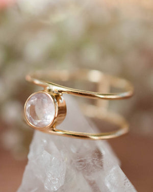 Rose Quartz Ring * Gold * Statement * Gemstone * Pink * Bridal * Wedding * Organic * Natural* Handmade * Bridesmaid * Thin band * BJR030