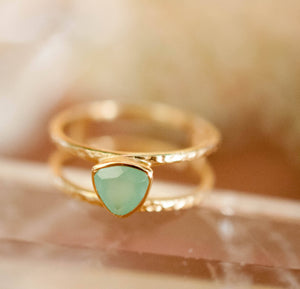 Aqua Chalcedony Ring * Triangle Gold* Statement * Gemstone * Teal * Aqua Chalcedony * Bridal *Wedding* Organic *Natural * Triangular BJR081