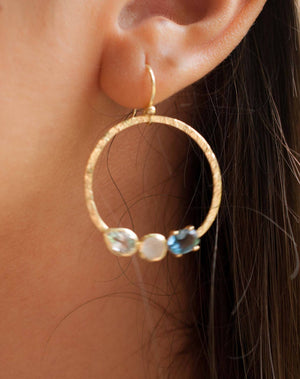 Esther Earrings * Blue Topaz, Rainbow Moonstone & Lolite Hydro * Gold Plated 18k * BJE092