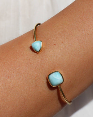Larimar Bohemian Bangle Bracelet * Gold Plated 18k or Silver Plated * Gemstone * Gypsy * Hippie * Adjustable * Statement * Stacking *BJB005A