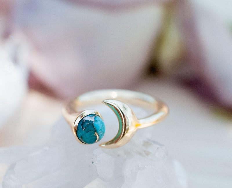 S A L E * Last Chance * Copper Turquoise Half Moon Ring * Gold * Adjustable * Wrap * Boho * Jewelry *Blue* BJR065