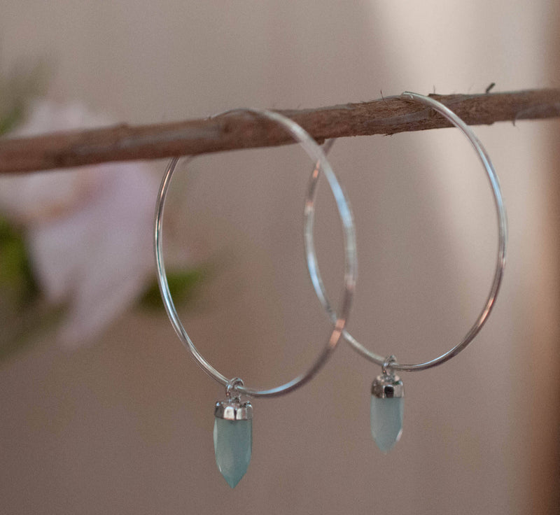 Aqua Chalcedony, Moonstone Hoop Earrings* Gold Filled  or Sterling Silver *Handmade* Gemstone * gift for her * Large * ByCia * BJE129B