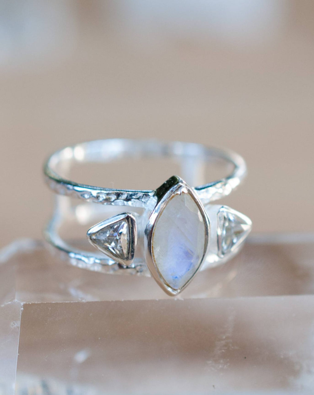 Moonstone & White Topaz Ring * Sterling Silver Ring * Statement Ring * Gemstone Ring *  Bridal Ring * Wedding Ring * Organic Ring * BJR150