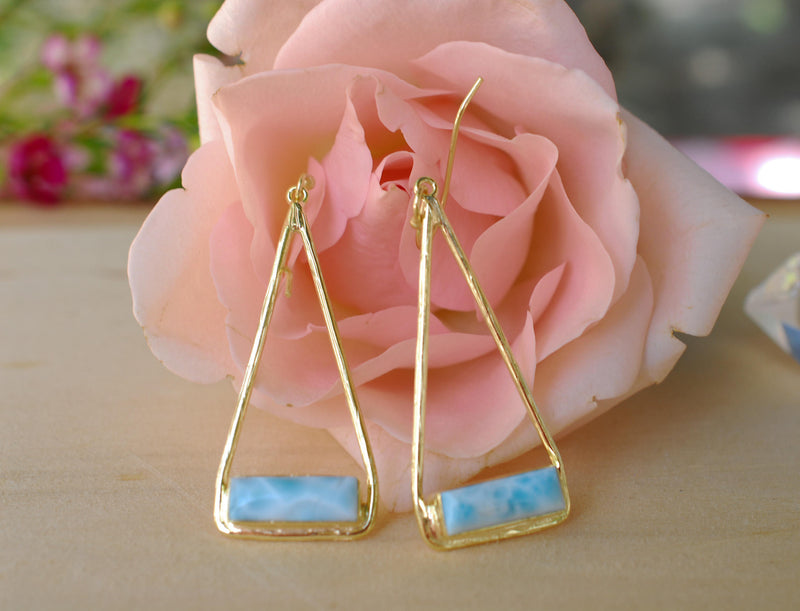 Larimar Earrings Gold Plated 18k or Silver Plated * Dangle * Gemstone * Natural * Lightweight * Triangulum * Geometric *BYcila * BJE008A
