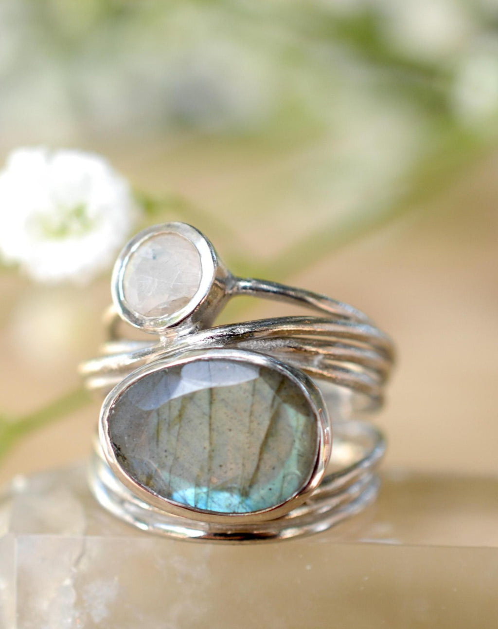 Silver Plated Ring * Labradorite * Moonstone * Gemstones * Handmade * Statement * Natural * Organic * Gift for her * Jewelry*Bycila*BJR074