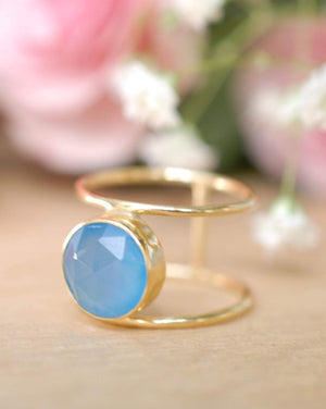 Blue Chalcedony Ring * Gold * Statement * Gemstone * Organic * Natural * Handmade * Designed Band * Boho * Bohemian * Gypsy * Ring*BJR021