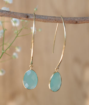 Aqua Chalcedony Gold Plated Threader Earrings * Gemstone * Teal chalcedony * bridal earrings *Handmade * Boho * wedding earrings * BJE082