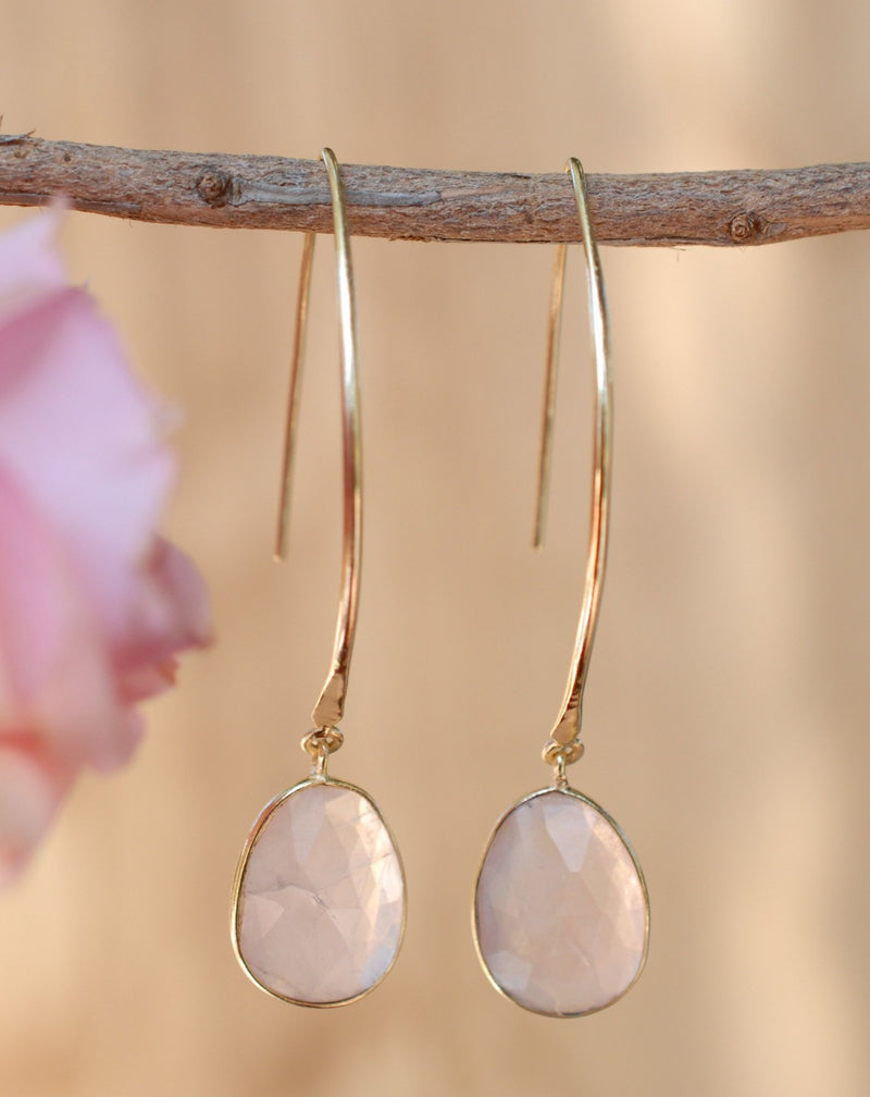 Camila Earrings * Rose Quartz * Gold Plated 18k * BJE083