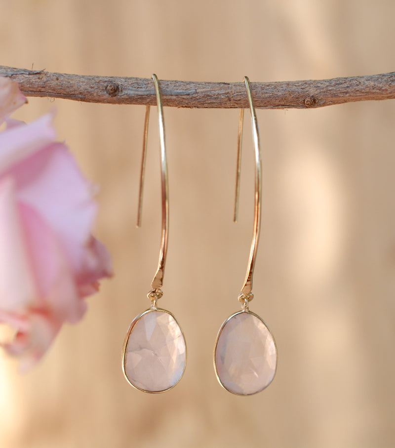 Rose Quartz Gold Plated Threader Earrings * Gemstone * Earrings * Handmade * bridal earrings * Boho * ByCila * wedding earrings* BJE083