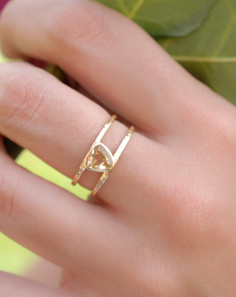 Yellow Topaz  Triangle Gold Vermeil Ring * Wedding * Engagement * Handmade * Statement * Bycila *Boho *Hippie * Bridal * Bridesmaid BJR086