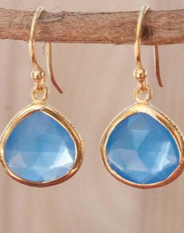 Lihue Earrings * Blue Chalcedony * Gold Plated 18k or Sterling Silver 925 * BJE067A