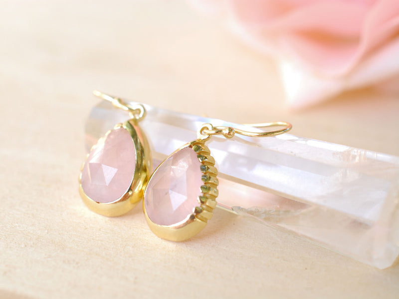 Rose Quartz Earrings Dangle Gold Plated 18k * Gemstone * Statement * Every day * handmade* Lightweight * bohemian * ByCila * BJE014
