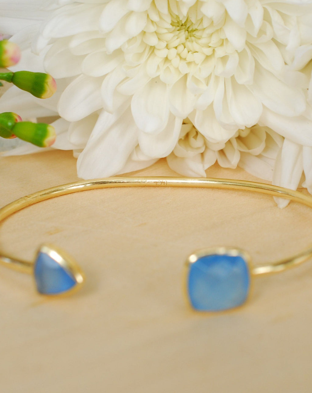 Blue Chalcedony Bangle Bracelet *Gold Plated 18k or Silver Plated* Gemstone * Gypsy * Adjustable * Statement * Stacking * Layering * BJB009A