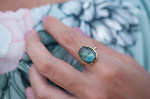 Rainbow Labradorite Ring * Gold Ring * Gemstone * Gold Plated * Statement *Bridal *Wedding * Natural * Thin *Handmade BJR066