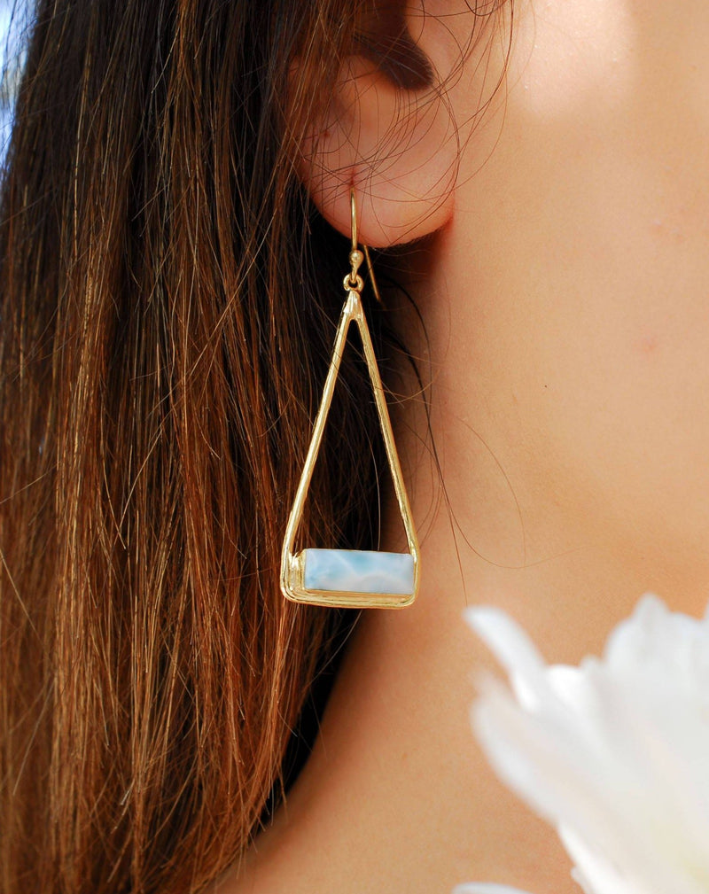 Marina Earrings * Larimar * Gold Plated 18k or Silver Plated * BJE008A