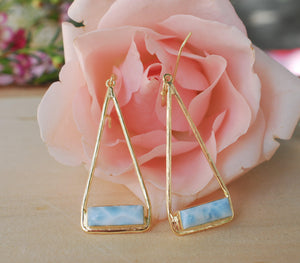 Larimar Earrings Gold Plated 18k or Silver Plated * Dangle * Gemstone * Natural * Lightweight * Triangulum * Geometric *BYcila * BJE008B