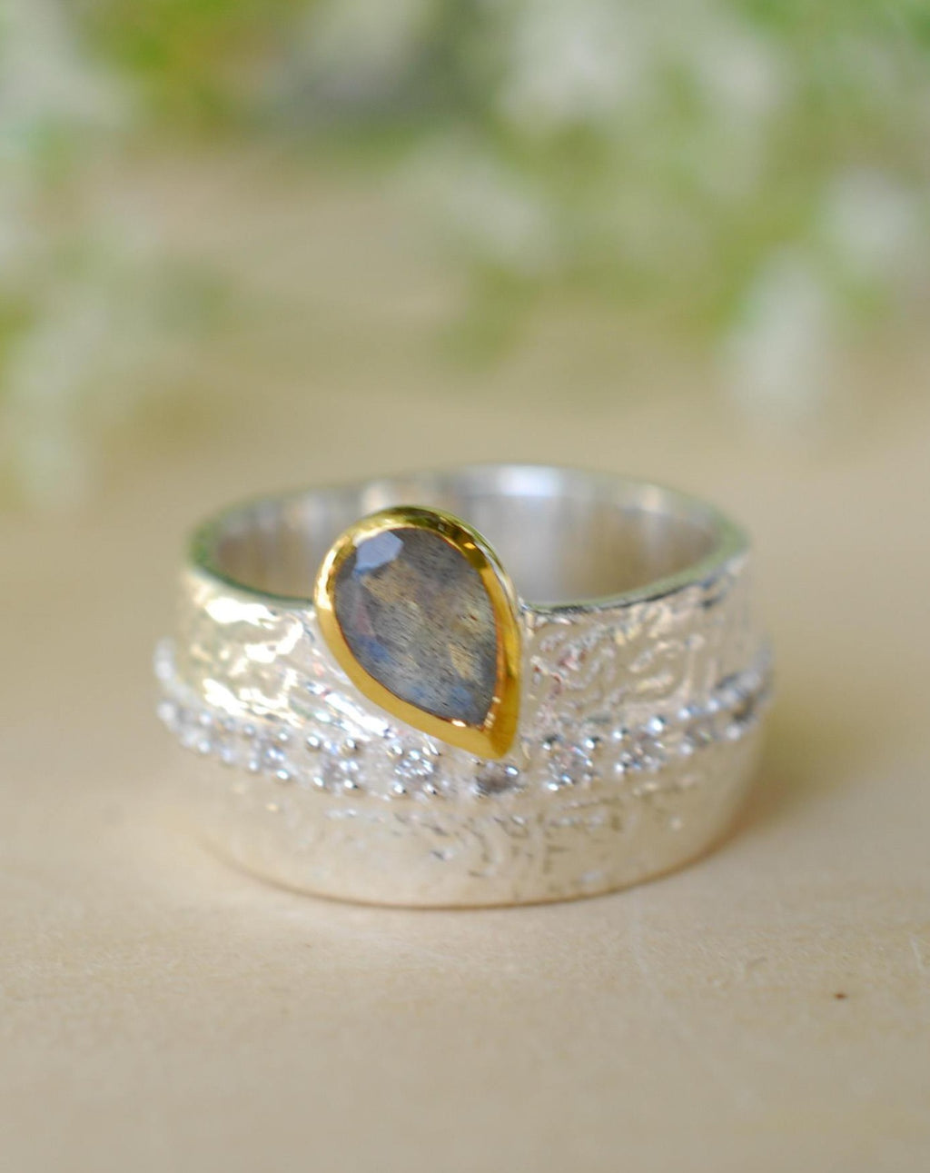 Rainbow Labradorite Ring * Sterling Silver 925 * Boho * Organic * Gold Vermeil * Mix metals* Gypsy * Hammered Band * Cubic Zirconia BJR201