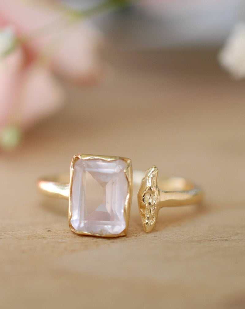 Rose Quartz Ring * Gold * Adjustable * Bridal * Wedding * Wrap * Boho * Jewelry *Gemstone *Mermaid *Pink* BJR096