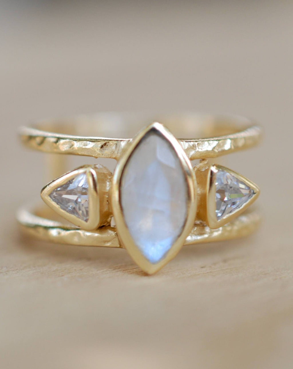 Moonstone & White Topaz Ring * Gold Vermeil Ring * Statement Ring *Gemstone Ring * Labradorite * Bridal Ring *Wedding Ring  * BJR149