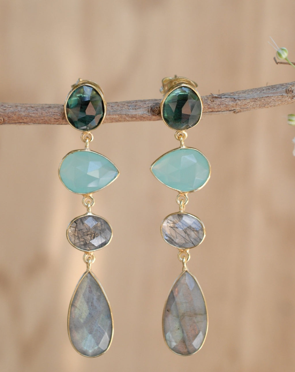 Bela Liz Earrings * Green Tourmaline Hydro, Aqua Chalcedony, Black Rutilated Quartz,& Labradorite * Gold Plated 18k * BJE087