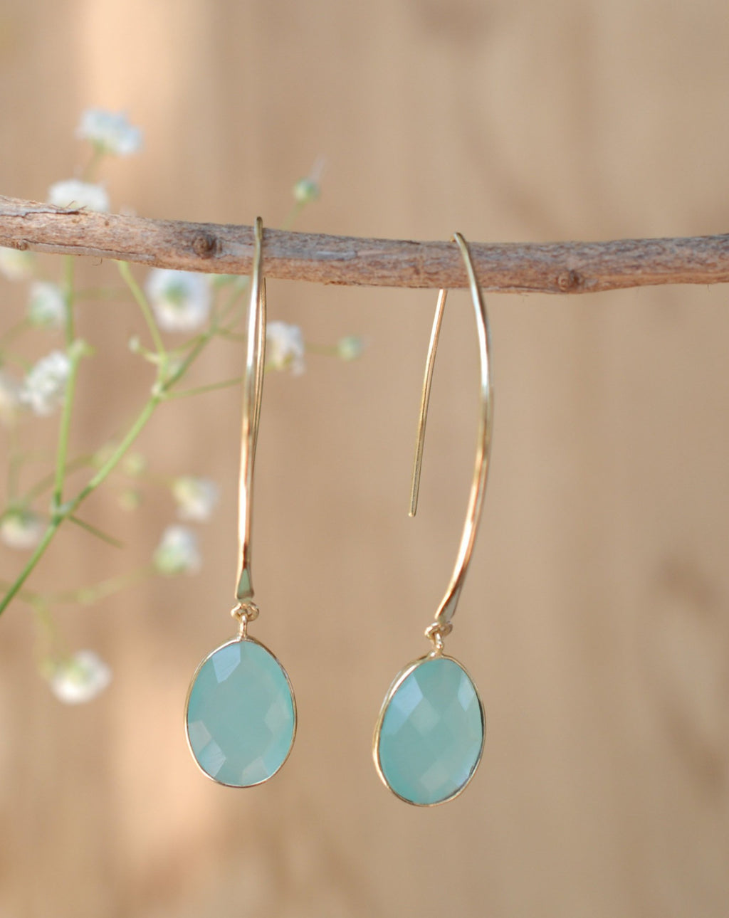 Camila Earrings * Aqua Chalcedony * Gold Plated 18k * BJE082