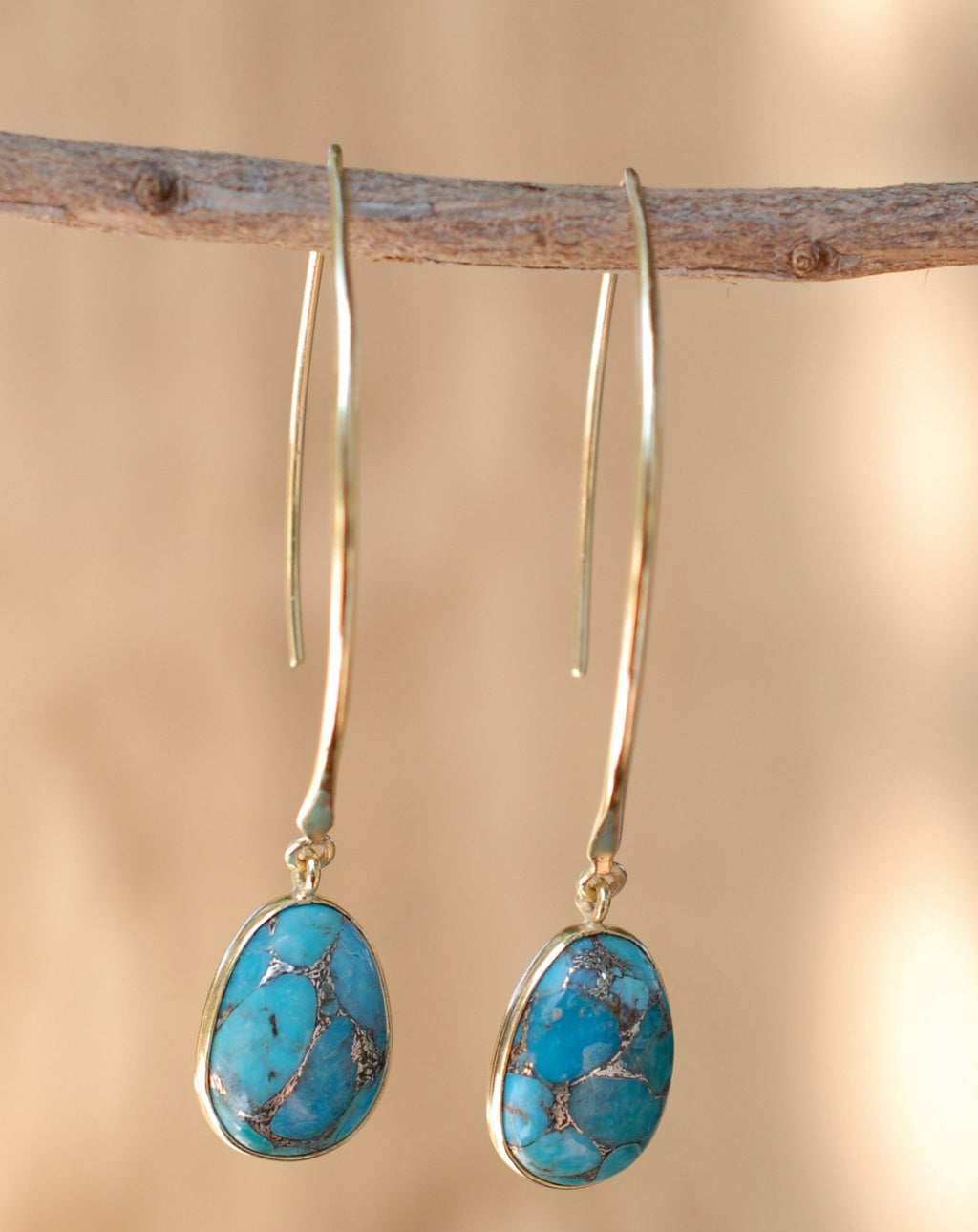 Camila Earrings * Copper Turquoise * Gold Plated 18k * BJE086