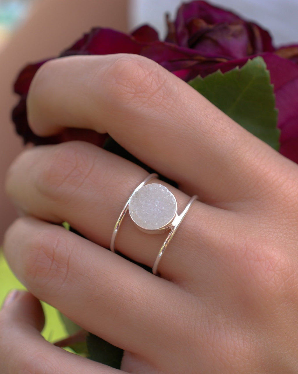 White Druzy Ring * Sterling Silver 925* Statement * Gemstone * White stone * Organic * Natural* Handmade* Thin Band BJR017