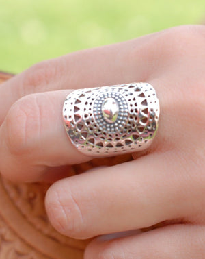 Mandala Sterling Silver Ring * Statement Ring * Large * Wide * Filigree * Handmade * Boho * Hippie *Jewelry* Bycila* Gift for Her BJR192