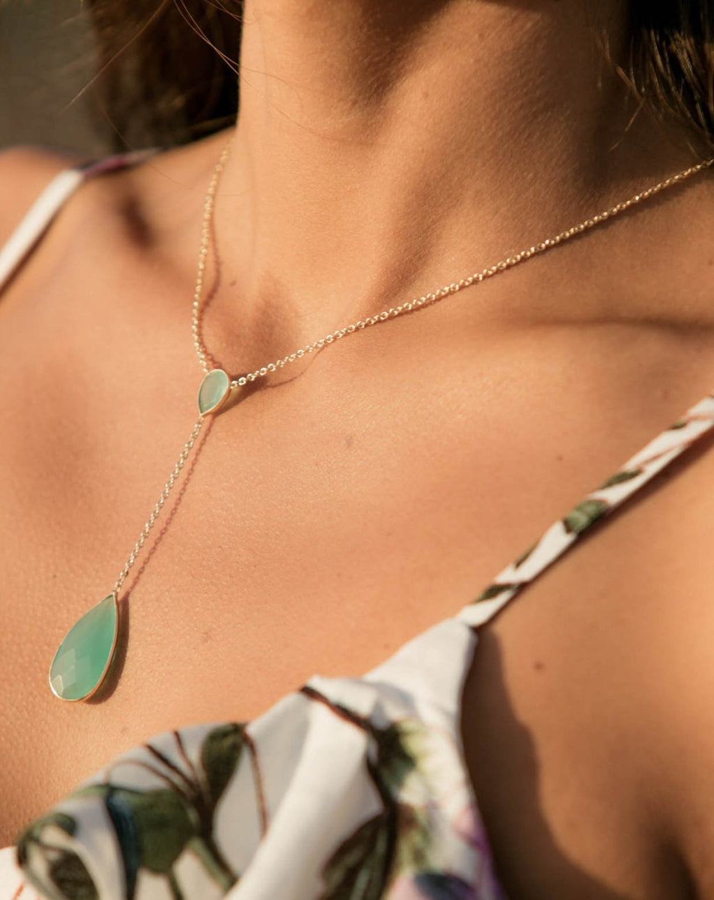 Gabrielle Necklace * Aqua Chalcedony, Labradorite or Moonstone * Gold Plated 18K * BJN042