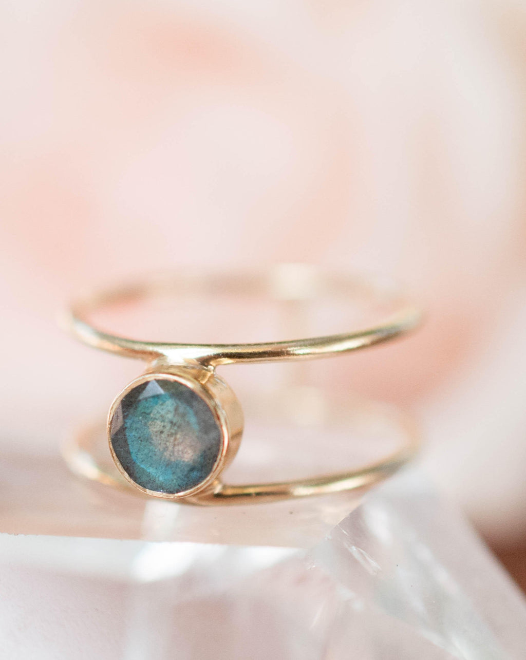 Labradorite Ring * Gold * Statement * Gemstone * Bridesmaid* Bridal * Wedding * Organic * Handmade * Circle * Double Band *Natural * BJR027