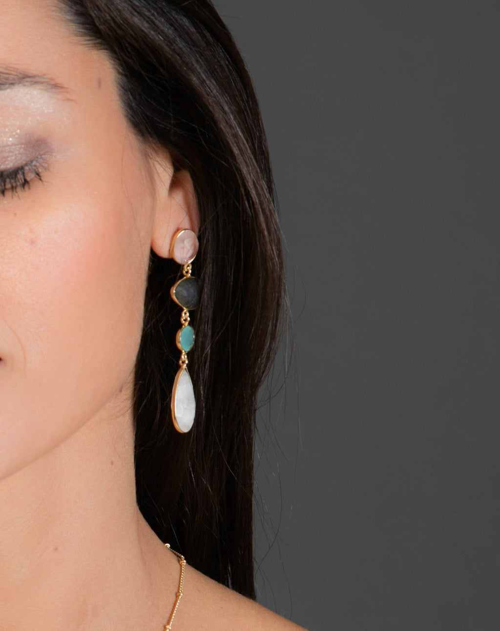 Bela Liz Earrings * Rose Quartz, Labradorite, Aqua Chalcedony &  Moonstone * Gold Plated 18k * BJE091