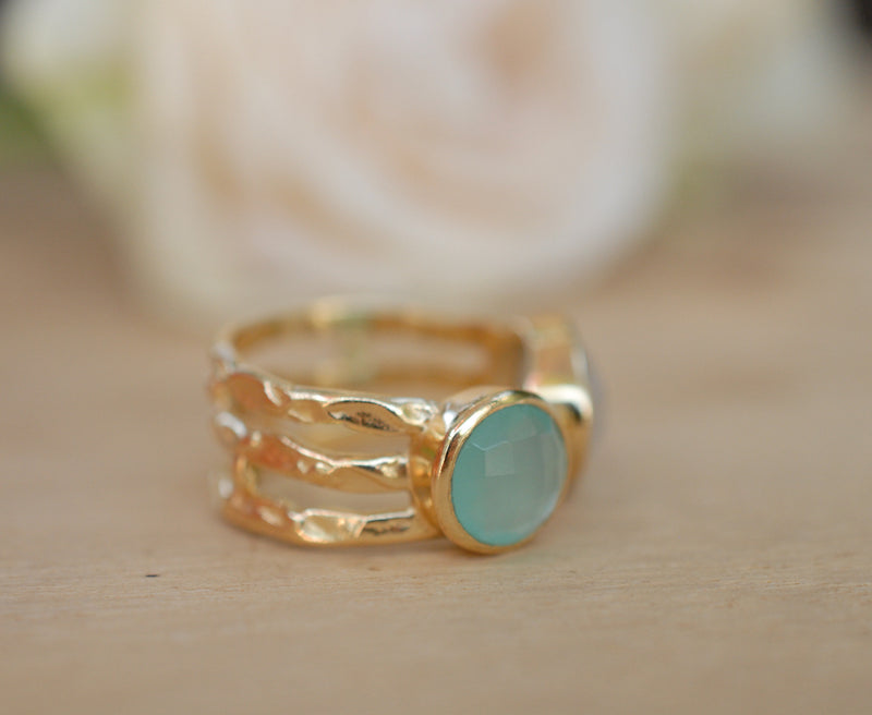 Aqua Chalcedony and Moonstone Ring * Statement Ring * Gemstone Ring * Teal * Bridal Ring * Wedding Ring * Organic Ring * Natural*BJR088