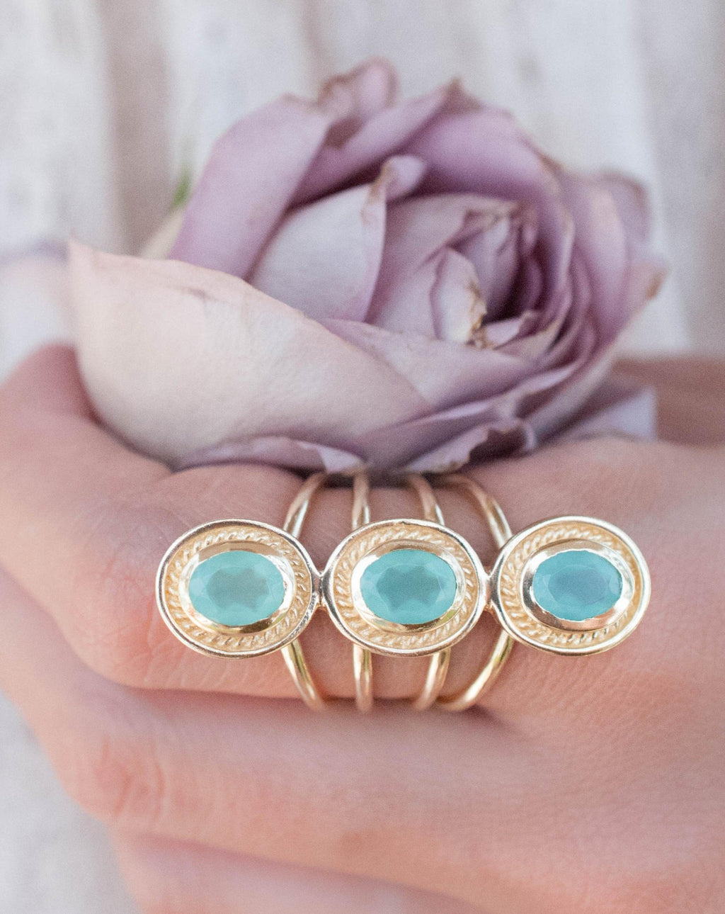 SALE Aqua Chalcedony Ring * Boho * Gemstone * Handmade * Bohemian* Gold Plated*Statement*November *December Birthstone *Gypsy *Bycila BJR091