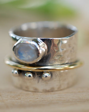 Moonstone Ring * Meditation * Spinner * Spinning * Anxiety * Hammered * Worry * Boho * Spin * Thick Band * Sterling Silver * Bronze BJS028