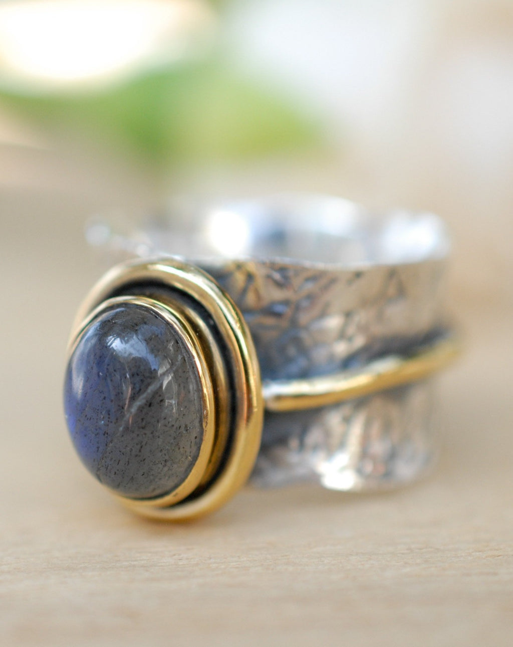 Labradorite ring * Sterling silver ring * Gold Vermeil ring * Wide ring * Handmade ring * Wave band ring *Gift for her * gemstone * BJR208