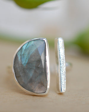Labradorite Ring * Adjustable Sterling Silver * Statement * Gemstone * Bridal * Wedding * Half Moon * Boho * Bohemian * Handmade * BJR113