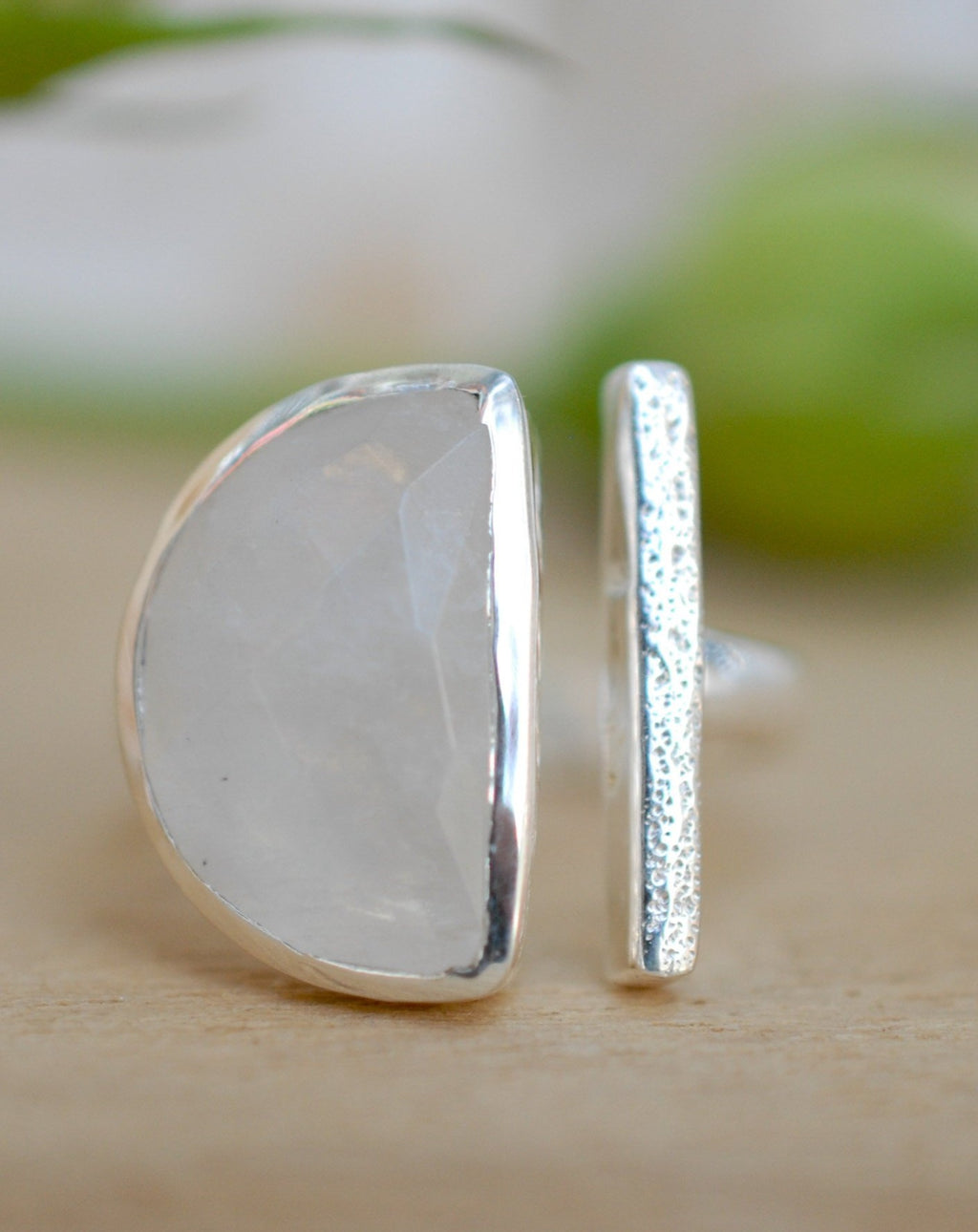 Moonstone Ring * Adjustable Sterling Silver * Statement * Gemstone * Bridal * Wedding * Half Moon * Boho * Bohemian * Handmade * BJR114