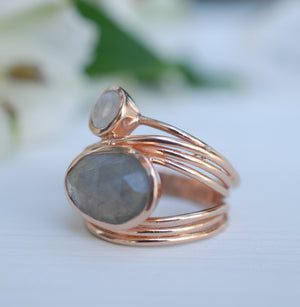Rose Gold Plated  Ring* Labradorite * Moonstone * Gemstones * Handmade *Statement * Natural * Organic * Gift for her * Jewelry*Bycila*BJR075
