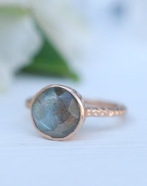 Rainbow Labradorite Rose Gold Ring * Boho * Organic * handmade * Gypsy * Bridesmaid* Solitaire * Bridal * BJR215